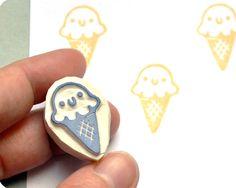 Ice cream hand carved rubber stamp | von Memi The Rainbow