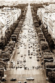 Champs Elysees from the top of the Arc de Triumph.