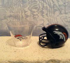 NFL MINI PLASTIC HELMET (2010) & NFL Plastic SHOT CUP (2012) Denver Broncos #NFL #DenverBroncos