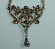 Vintage Amethyst Marcasite Sterling Art Nouveau Style Necklace from Splendors of the Past on Ruby Lane