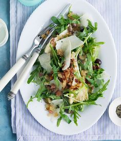 rocket, parmesan & olive salad with pancetta crumbs