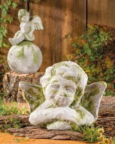 """Engelsbüste mit Beton Moos (Idee mit Anleitung – Klick auf """"Besuchen""""!) - Engelsfiguren sind immer ein besonderer Schmuck. Dieser selbstgemachte Engel bekommt ganz sicher einen hübschen Platz als Deko im Garten, auf der Terrasse oder dem Balkon."""