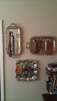 Jewelry Storage using old silver trays I had in a closet :)