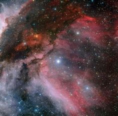 This panoramic view combines a new image of the field around the Wolf–Rayet star WR 22 in the Carina Nebula (right) with an earlier picture of the region around the unique star Eta Carinae in the heart of the nebula (left). Carina Nebula, Orion Nebula, Helix Nebula, Andromeda Galaxy, Space Photos, Space Images, Cosmos, Eta Carinae, Star System