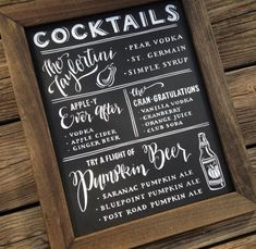 Featuring unique calligraphy and original artwork, this chalkboard cocktail menu is made to order! The artist will work closely with you to create a beautiful custom piece.
