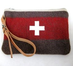 Swiss Army toiletry bag. Unique. Handmade from Vintage Swiss Army  Wool Blankets - Taupe Gray  Red Stripe  Swiss Cross. Great Gift for Guys