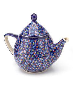 Look at this #zulilyfind! Blue Polka Dot Atena Teapot #zulilyfinds