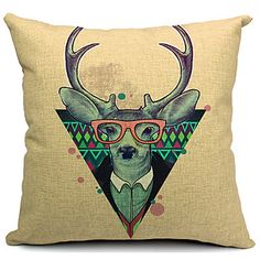 Country Lovely Deer Cotton/Linen Decorative Pillow Cover – USD $ 29.65