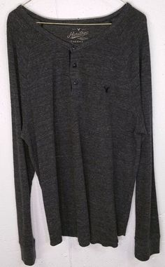 American Eagle Heritage Thermal Mens Grey Long Sleeve 3 Button Henley Shirt XL…