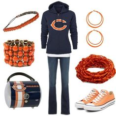 I'm decked out in my Bears hoodie with a big orange C in the front, with dark blue skinny jeans and tangerine chucks, and finished off with my awesome Chicago Bears purse I bought last year. I'm the poster child for sexy, fun and free Bears - Temporary Bliss (Mac's outfit for Date 2 - Bears' game)