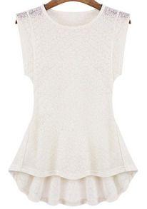Blusa encaje floral volante-blanco