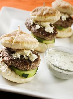 Lamb sliders with tzatziki. They remind me of little gyros. Lamb Recipes, Greek Recipes, Gourmet Recipes, Cooking Recipes, Healthy Recipes, Fish Recipes, Recipies, Cooking Tips, Keto Recipes
