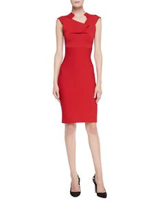 Velia Folded Sheath Dress, Red by Roland Mouret at Neiman Marcus.
