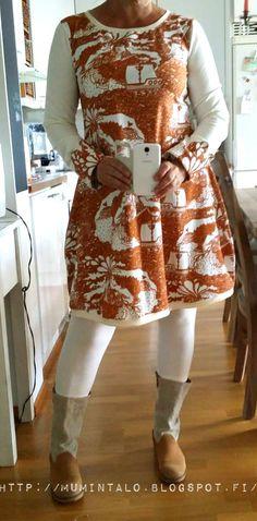 """Kankaiden """"tuho"""" jatkuu. Olen luvannut itselleni,että kangaspinojen on huvennuttava ja kunnolla. Kaksi hyllyllistä saa olla ihan max. Tänään... Learn To Sew, Comfortable Fashion, Sewing Tutorials, Sewing Ideas, Sewing Clothes, Fashion Outfits, Womens Fashion, Handicraft, Apron"""
