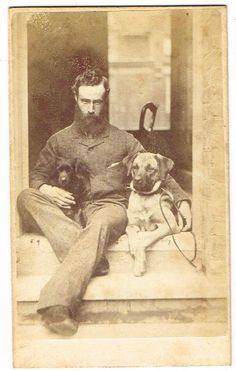 CDV Photograph Bearded Gent Pet Dogs Victorian Fashion Redhill Surrey C 1880 | eBay