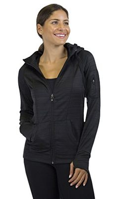 90 Degree By Reflex  Performance Activewear Fleece Hoodie Jacket  Black Stripe Large * Be sure to check out this awesome product.