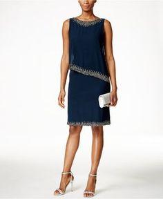 J Kara Beaded Capelet Dress - Mother of the Bride - Women - Macy's
