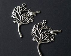 Silver Tree Bird Charm, Antique Silver Filigree Tree Pendant With Loop 41mmx30mm (8) Pieces, Silver Metal Jewelry Findings