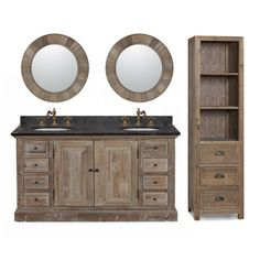 Marble Top Double Sink Rustic Bathroom Vanity With Matching Daul Wall  Mirrors And Linen Tower   Overstock Shopping   Great Deals On Infurniture  Bathroom ...