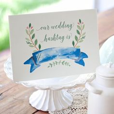 Hashtagging your wedding? Announce it prettily with these FREE watercolor signs! Choose from two different color and style options.
