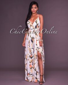 1d8b15ac07e4 Chic Couture Online - Angeles Yellow Floral Print Slit Legs Jumpsuit