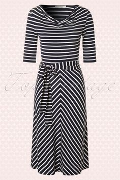 Mikarose - 50s Molly Navy Chevron Striped Dress