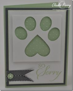 Love the paw print punch art using Stampin Up heart & small oval punches Great dog lover sympathy card