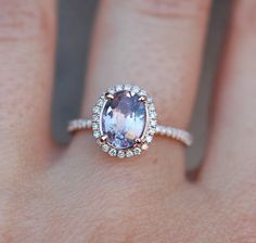 Rose gold engagement ring. Peach sapphire 1.75ct by EidelPrecious