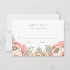 Vintage Floral Wedding RSVP: Vintage Floral Wedding RSVPby origamiprints Wedding Rsvp, Floral Wedding, Vintage Floral, Wedding Designs, Vintage Shops, Vintage Inspired, Invitations, Unisex, Pink