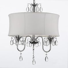 chandeliers with ceiling fan | White Drum Shade Crystal Ceiling Chandelier Pendant Light Fixture ...
