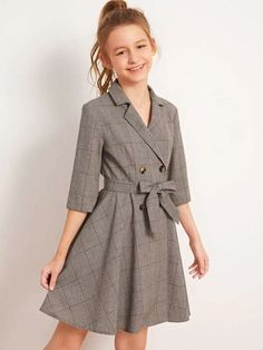 To find out about the Girls Lapel Collar Double Breasted Belted Plaid Dress at SHEIN, part of our latest Girls Dresses ready to shop online today! Girls Fashion Clothes, Kids Outfits Girls, Tween Fashion, Cute Outfits For Kids, Teen Fashion Outfits, Cute Casual Outfits, Girl Fashion, Girl Outfits, Dresses For Tweens