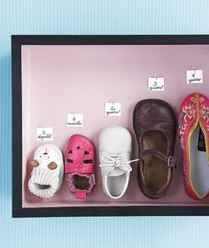 What a nice way to display a baby's tiny shoes as they grow. Put them in a deep shadow box & hang...super cute!