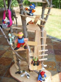 Tiny Tree Houses!  What a fun project to do with my boys!