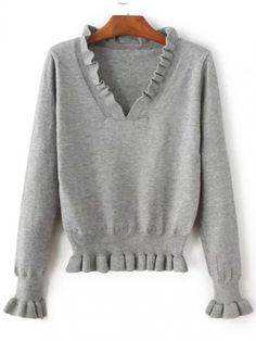 Shop Grey Ruffle V Neck Peplum Sweater online. SheIn offers Grey Ruffle V Neck Peplum Sweater & more to fit your fashionable needs. Peplum Sweater, Long Knit Cardigan, Sweater Shirt, Sweater Knitting Patterns, Latest Street Fashion, Business Dresses, Pulls, Size Clothing, Shirt Blouses