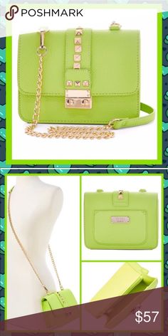"NWT-5⭐ BCBG Green Apple Caviar Crossbody Body Bag NWT- Back in stock! BCBG presents this Green Apple studded crossbody purse.   Gilded gold hardware adorns the pebbled faux leather with channel vintage style cable chain strap. 5⭐️ RATED! Removable 47"" crossbody strap, push lock closure. 7""W x 5""H x 2.75""D (also available in lavender) BCBG Bags"