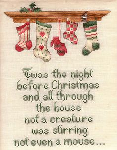 Sue Hillis Designs: Christmas Stockings - Twas the night before Christmas and all through the house, not a creature was stirring not even a mouse. Cross Stitch Stocking, Xmas Cross Stitch, Cross Stitching, Cross Stitch Embroidery, Christmas Cross, A Christmas Story, Cross Stitch Designs, Cross Stitch Patterns, Family Ornament