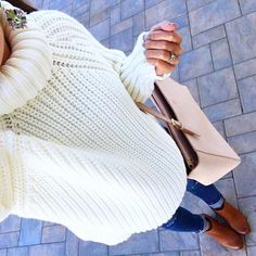 IG @mrscasual <click through to shop this look> Cream turtleneck sweater. Topshop maternity skinny jeans. BP trolley ankle booties. Tory burch light oak york tote. Statement earrings.