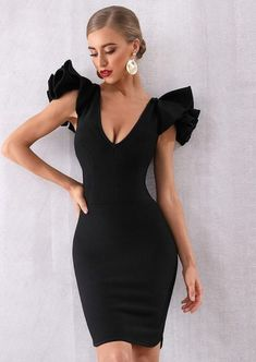 2020 New Arrivals – Page 2 – Luxurious Style Bodycon Dress Formal, Bodycon Dress With Sleeves, Black Bodycon Dress, Dress Black, Ruffle Dress, Ruffles, Party Dress Outfits, Summer Outfits, Strapless Party Dress