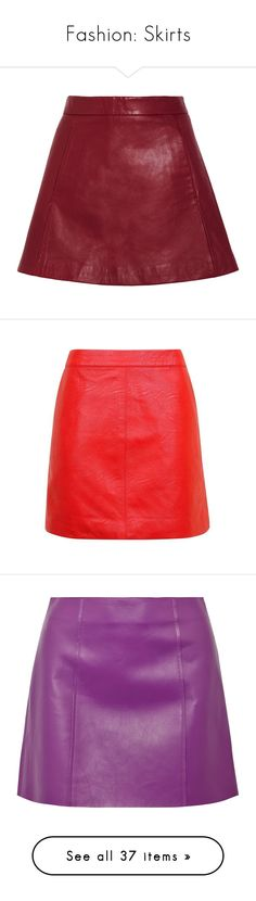 """Fashion: Skirts"" by katiasitems on Polyvore featuring skirts, mini skirts, bottoms, saias, red, leather miniskirt, red leather mini skirt, pocket skirt, red skirt and red mini skirt"