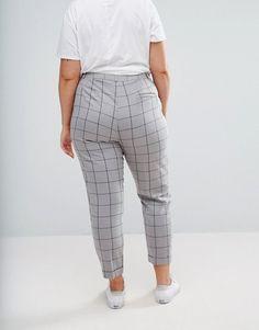 ASOS CURVE Cigarette Pants in Grid Check - Multi