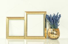 Golden picture frame and lavender by LiliGraphie on Creative Market