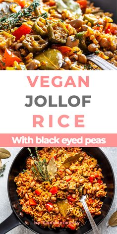 Our vegan Nigerian Jollof rice recipe is a well-balanced one-pot meal prepared with a spicy pepper and tomato sauce, black-eyed peas, and okra. vegan nigerian jollof rice,african rice jollof,healthy african recipes,african rice recipe,easy jollof rice recipe #vegan #govegan #dairyfree #glutenfree #recipe #cooking #food Easy Rice Recipes, Tasty Vegetarian Recipes, Pescatarian Recipes, New Recipes, Dinner Recipes, Healthy Recipes, African Rice Recipe, African Recipes, Ethnic Recipes