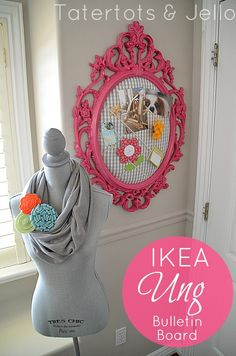 Ikea Ung Frame to Colorful Bulletin Board (DIY tutorial)