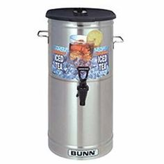 Iced Tea/Coffee Dispenser - 5 Gal./Brew Through Lid, 34100.0003 by BUNN-O-MATIC CORPORATION. $75.95. Iced Tea/Coffee Dispenser - 5 Gal./Brew Through Lid, 34100.0003 Dispensers available in 3, 3.5, 4, and 5 gallon (11.4, 13.2, 15.1 and 18.9 litre) capacities. Sump dispense valve assures complete dispensing of tea. TDS-3, T DS-3.5 and T DS-5 models have stainless lid. TDO-4 and T DO-5 models have plastic lid and oval shape. 22.00 L. 13.70 W. 10.70 H.