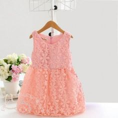 Peach Love Crocheted #Baby #Dress. Get this dress at special price of Rs1,100