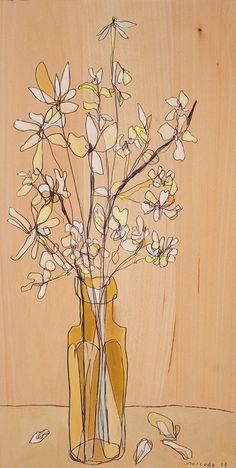Impression toile bouquet blanc doux par Jennifer Mercede 24 X 12