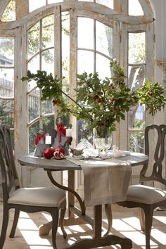 french doors w/o glass, weathered dining table & chairs, all shabby chic French Country Cottage, French Country Style, Country Farmhouse, Country Kitchen, Modern Country, Rustic Style, French Decor, French Country Decorating, French Interior