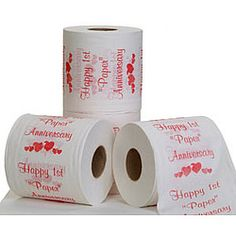 """1st """"Paper"""" Anniversary Toilet Paper He would get a kick out of this"""