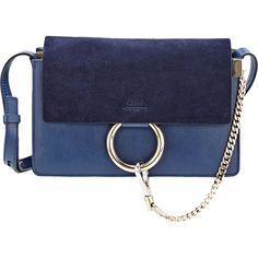 Chloé Faye Small Shoulder Bag ($1,390) ❤ liked on Polyvore featuring bags, handbags, shoulder bags, blue, shoulder strap handbags, shoulder bag purse, shoulder bag handbag, flat purse and blue purse