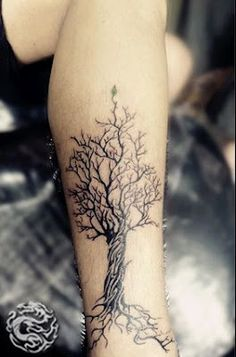 "This is way too big but kinda the style in which i'd want a tree tattoo, but with the word ""trust"" molded in the roots.  #tree #tattoo tree tattoo"